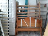 "4ft 6"" pine wood bed frame with a big 1000 pocket sprung memory foam top mattress £125"