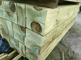 10 x 5 Tanalised Garden Sleepers (255mm x 125mm) 8ft Lengths