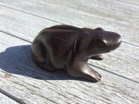 hand carved solid hard wood frog - awesome paperweight / ornament