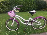 Girls purple & white bike, 6-9yrs, 20'' wheel