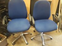 blue office chairs with armrests