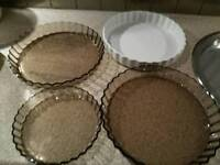 QUICHE BAKING DISHES. AS NEW, VERY LITTLE USED