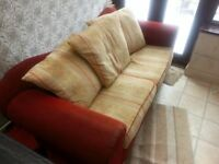RED & GOLD STURDY SOFA & CHAIR.