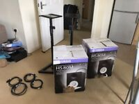 Studio Speakers - Yamaha HS80M Active Audio Monitors, Stands & Cables - Perfect Condition!
