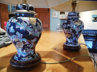 Pair of Chinese style Ginger Jar Table Lamps. Blue in colour with shades