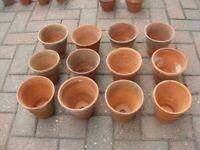 12 x Vintage Terracotta Clay Flower Pots Ceramic Pottery Plant Pot H 13cm x W 14cm