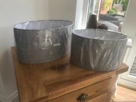 2 x Grey Oval Lampshades