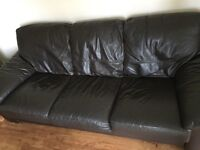 DFS Chocolate brown leather 2 and 3 seater sofa