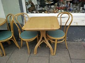 LOVELY BEECH SQUARE TABLE AND TWO CHAIRS