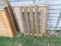 3 fence panels and garden gate with 4 posts and stakes