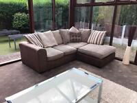 Brown Suede + Stone Grey Corner Sofa Excellent Condition