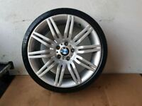 BMW GENUINE 172M 5 SERIES E60 E61 19 SPYDER M SPORT WHEEL WITH GOOD TYRE CAN POST ANYWHERE IN UK