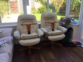 2 x leather swivel chairs