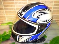 SHARK METALLIC BLUE AND WHITE MOTORCYCLE HELMET SIZE SMALL