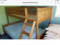 Pine Bunk bed frame bottom bunk 4ft top bunk 3ft (without mattresses)