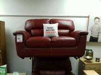 2 seater sofa upholstered in red leather - British Heart Foundation sco39426