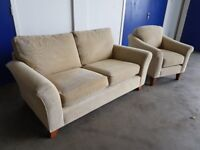 MARKS & SPENCER WESTBURY BEIGE FABRIC LOUNGE SUITE 2 SEATER SOFA / SETTEE AND ARMCHAIR CAN DELIVER