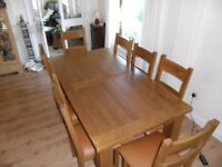 Solid Oak Extending Table Sitting 10 - 12 People & 8 Tan Leather Seat Chairs