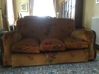 Settee and chair, 1930's, GP&J Baker fabric