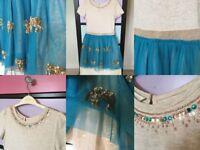 Monsoon Girl's Age 7 Party Dress - Gold Aqua Elephant Sequins - Fully Lined - MILTON KEYNES