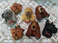 7 Retro Dog Wall Hangings Bossons vintage originals