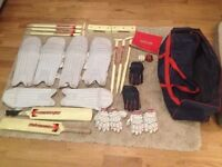 Full cricket set with pads, gloves and bag