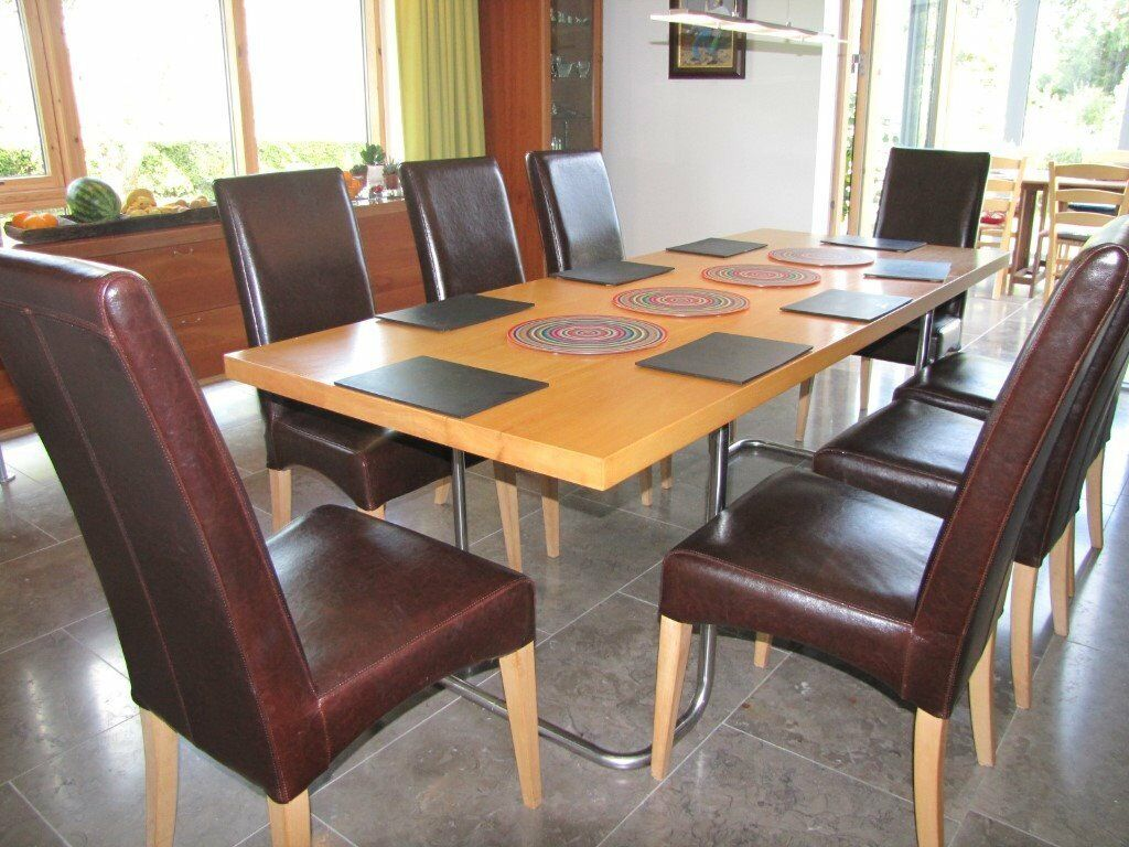 Beech Frame Upholstered Real Leather Dining Room Chairs.