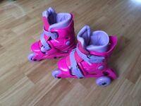 2 to 1 Pink Girls Tri Inline Skates (adjustable size 10-13)
