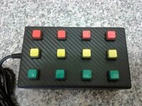 12 function USB button box for PC driving / racing and flight sims etc. Multi colour version
