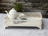 Large White Shabby Chic Vintage Style Metal Tray