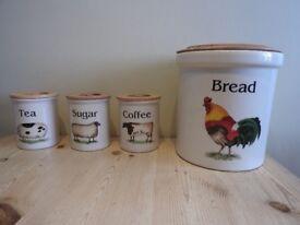 Cloverleaf set Tea, Coffee & Sugar Lidded Storage Jars and Lidded Bread Crock