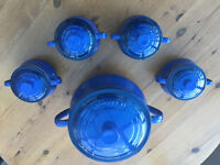 Le Creuset soup cooking pot and serving bowls