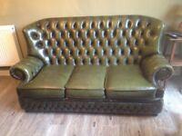 Vintage Leather Chesterfield Dark Green Sofa, Uxbridge