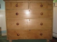 Antique pine chest of drawers: in need of restoration.