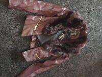 Maroon faux leather jacket - Size 6 - £10