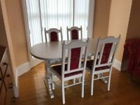Vintage looking table and six chairs