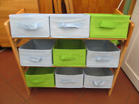 Storage Rack- Pine surround with 9 green or blue boxes- Free for collection only.