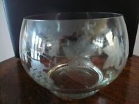 Large Engraved Glass Punchbowl + Glass Ladle + 5 Engraved Punch Cups etc.
