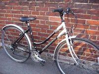 """ladies reflex freedom hybrid bike 18"""" frame 21 speed shimano gears breaks wheels fully serviced"""