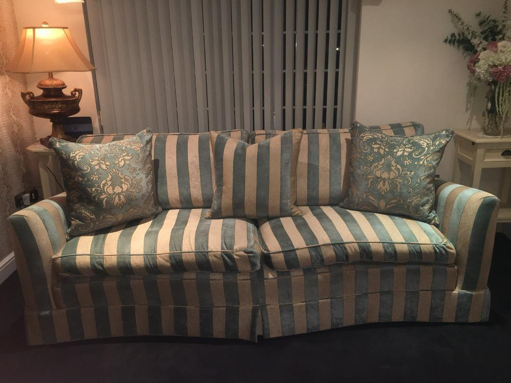 Duresta Diplomat Huge 3 Seater Sofa Gold Green Teal Stripe Excellent Condition