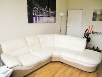 Cream and tan 5 seat sofa