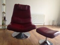 Red swivel chair with footstool - leather look great condition for collection Droylsden