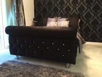 Double UK made crushed velvet bed frame sleigh design