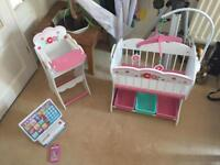 Wooden Baby Toy High chair and matching cot