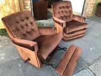 Vintage chesterfield sofa set brown fabric velour
