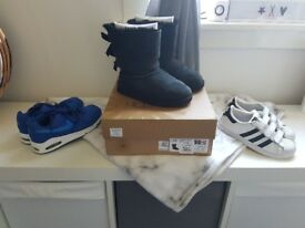 Size 1 bailey bow uggs, adidas superstars and karrimor sandals