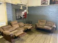 HARVEYS SUEDE SOFA SET RECLINERS IN NICE CONDITION 3+2 seater