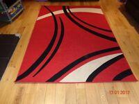 Red white black rug