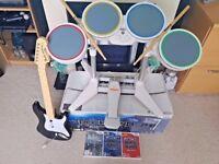 Rockband Drums, Guitar, Mic, The Beatles & Rock Band Games Nintendo Wii, Wii U