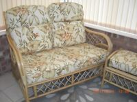 TWO SEATER SETTEE, ONE CHAIR, ONE FOOTSTOOL,